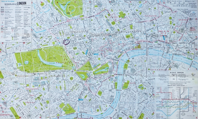 Detailed map of London given free by BOAC. Produced by Miniplans Ltd and based on O.S. mapping, 1960