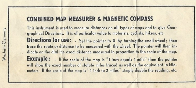 Enclosed instructions for Pathfinder Three-in-One map measure