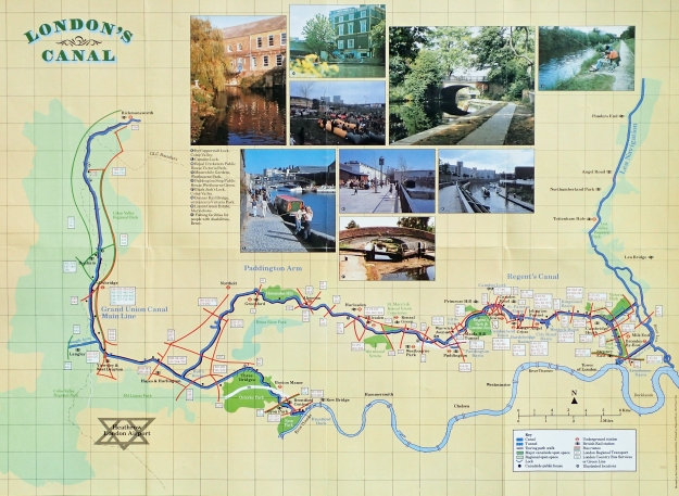 Revised canal map produced by the London Canals Committee and printed July 1988
