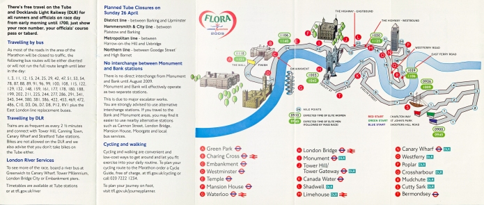 Map detail in 2009 'Marathon' leaflet produced by Transport for London