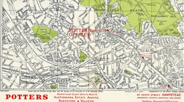 Part of a map to the Hampstead area of London. This has been produced by cartographers Geographia and is based on Ordnance Survey map and is overprinted with the location of the estate agent's office. Printed by Waterlow and Sons Ltd, probably in the 1960s