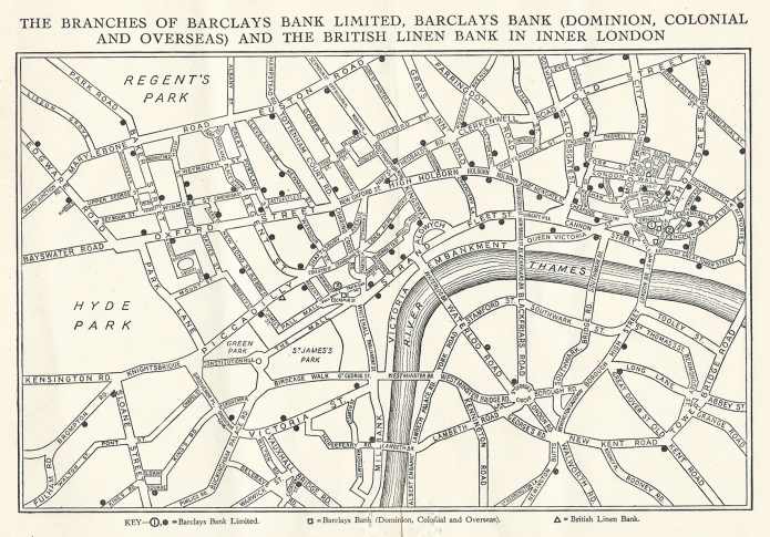 Simple map of inner London included in complimentary booklet distributed by Barclays Bank for the 1937 Coronation of King George VI. The processinal route was also included in this booklet and can be seen in part three of this series