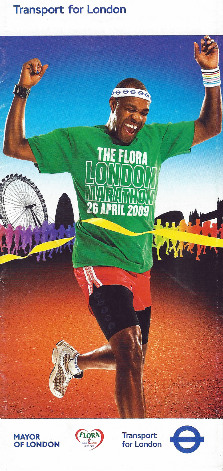 Free map with travel information produced for the Flora London Marathon, 2009