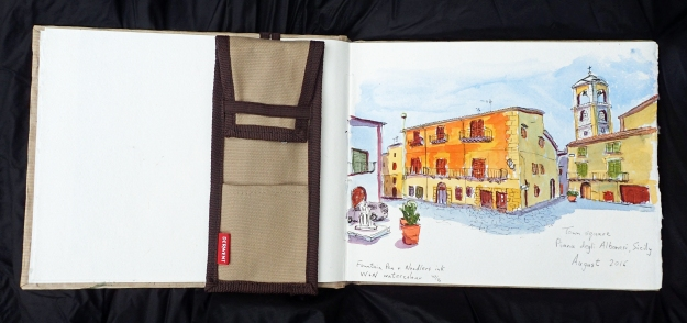 Sitting having a drink in the shade of a cafe, a sketch of the square in front of me was called for, Sicily