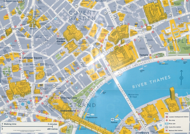 TfL's guide to the North Bank truly integrates the pedestrian into a the various alternative forms of transport. The map is based on 2017 Ordnance Survey mapping with added pictorial representation of important buildings. Copyright Transport for London 2017