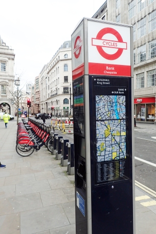 Santander cycle hire docking station. Cheapside, London. Photographed 2020