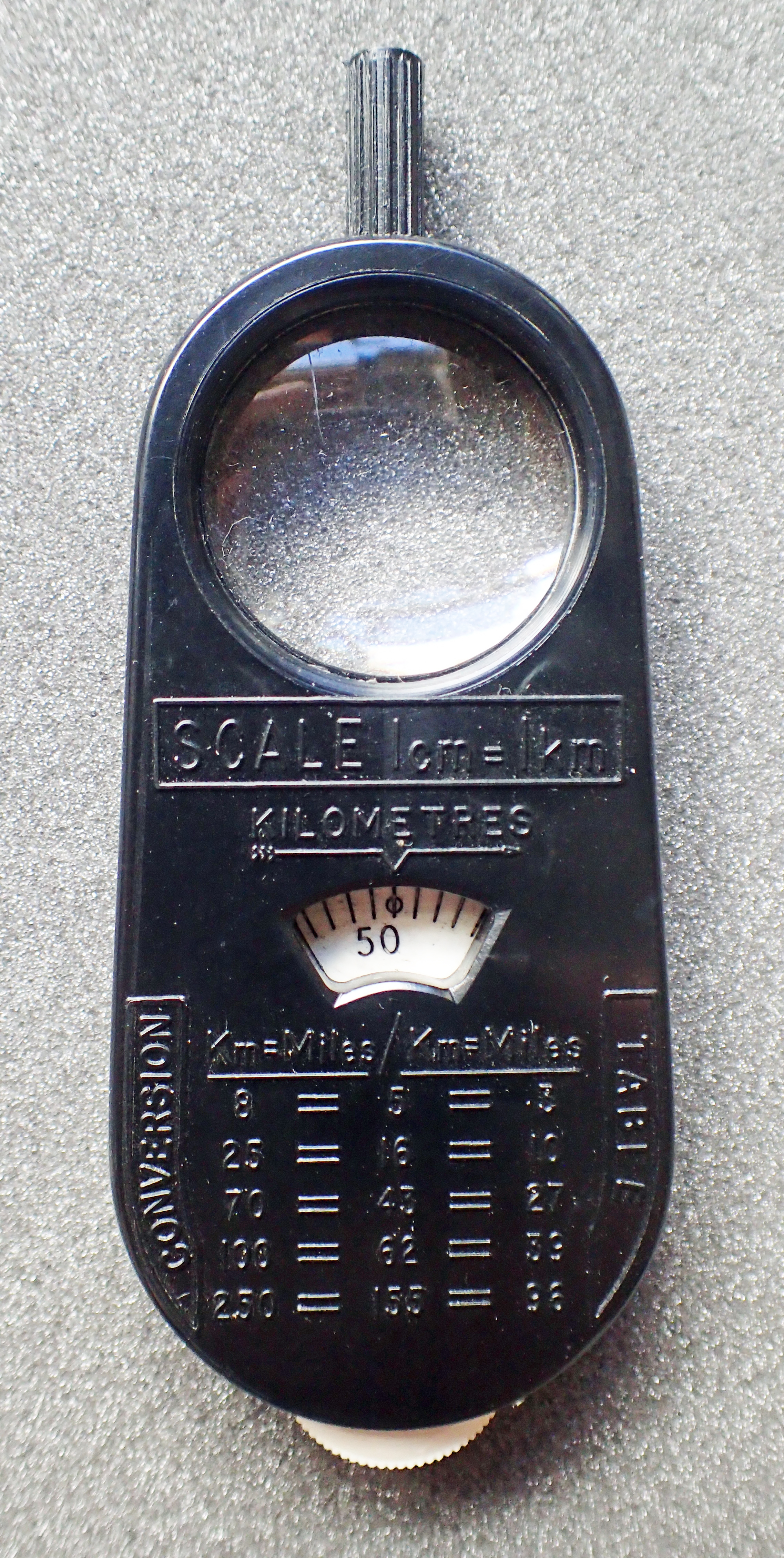 Rear of 1959 Practical Motorist Map Measure- scale 1cm to 1km
