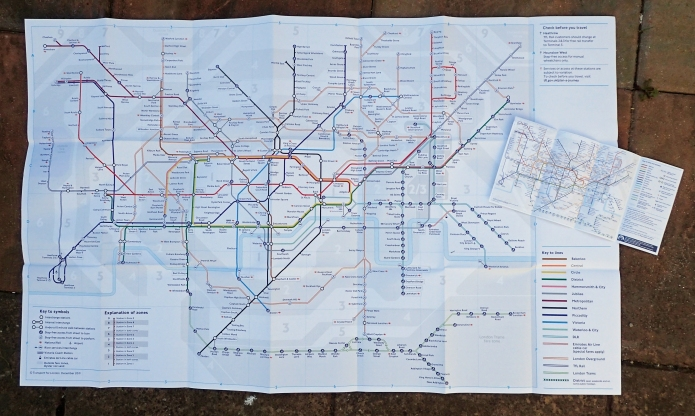Colour large print Tube map with standard pocket size version. Both December 2019
