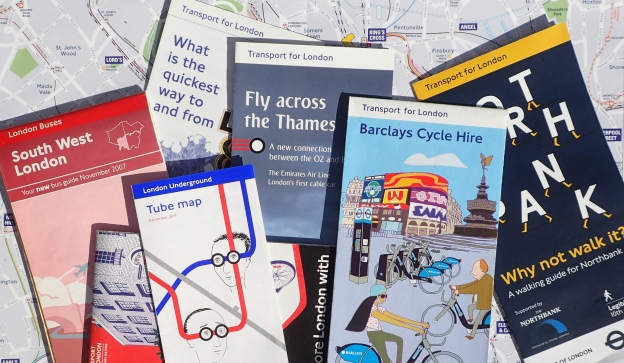 Various maps produced by Transport for London that aid in walking across London