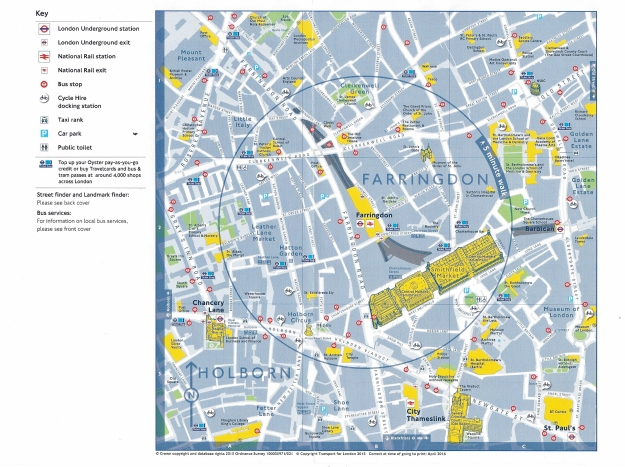 'Continuing your Journey'- opened map freely available for travellers on the London Underground. 2015-6