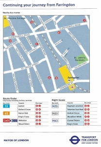 'Continuing your Journey'- Free paper map showing the streets around the Farringdon station