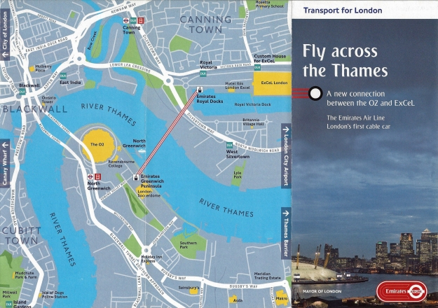 Transport for London leaflet, with map, for the Emirates Air Line. June 2012