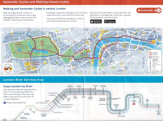 Map detail from free TfL 'Getting around in Central London' leaflet. June 2019