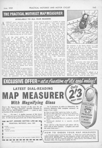 1959 advertisement for the Practical Motorist Map Measurer