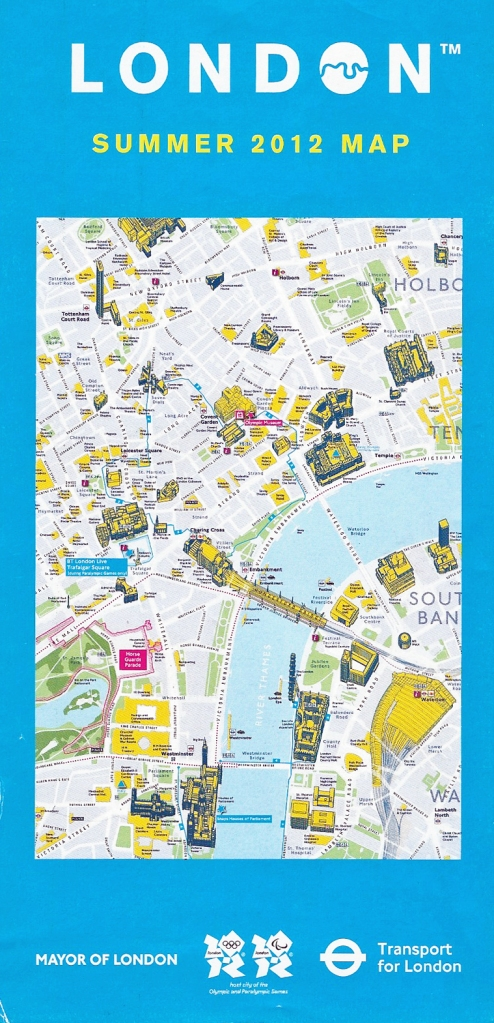 Large free map produced by TfL for Summer 2012