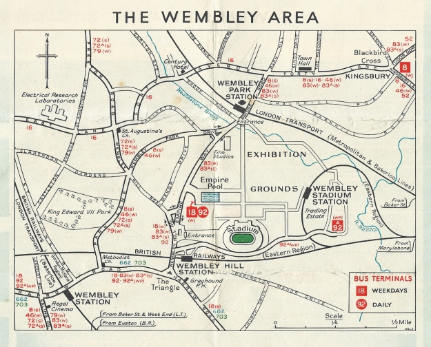 Map to Wembley area in free 1948 London Transport Olympic guide