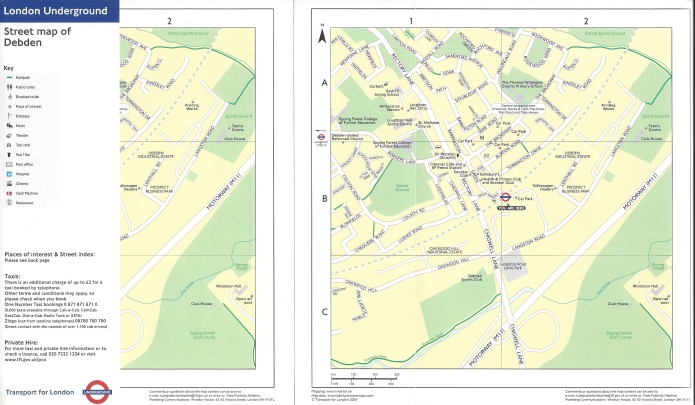 Two TfL produced maps sowing the streets close to the Debden station, on the Central Underground line. Folded on left and open on right. 2004