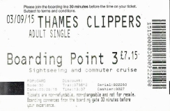 Thames Clipper boarding pass, 2015