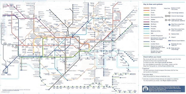 TfL London Tube map. This includes detail on some stations where there is less than ten minutes walk between them. May 2019