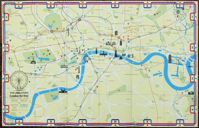 'London for free' pocket sized guide produced by The Times newspaper in 2012. The reverse includes a tube map, river view, guide to free museums, galleries, cultural events, parks, walks and where major markets and shopping was located. The Olympic venues are also shown. Important or distinctive buildings are indicated on the simple map but only major roads are included