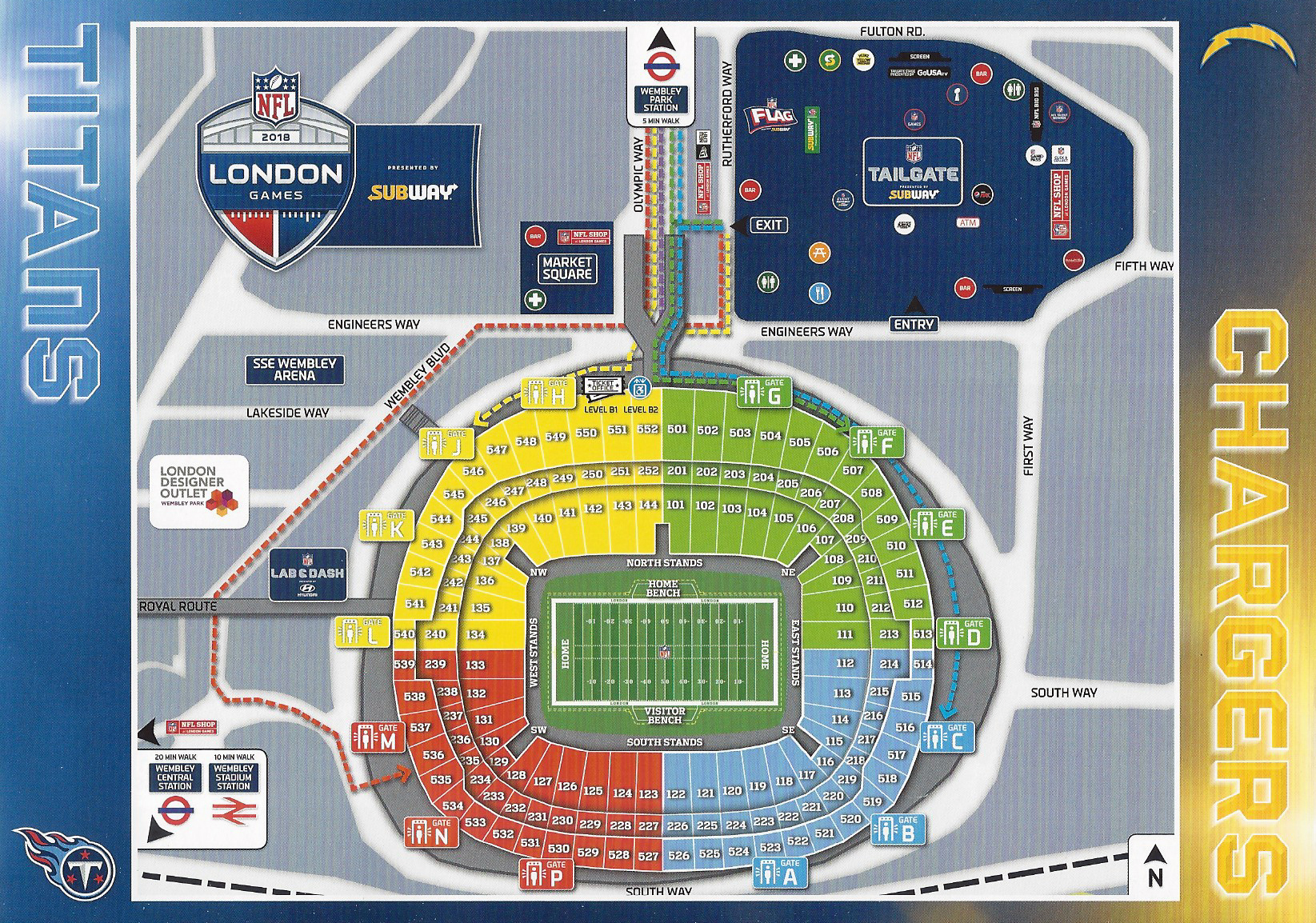 Simple diagram map of Wembley Stadium and its approach. Intended to prevent external congestion of spectators. Produced for 2018 London NFL Games game between Los Angeles Chargers and Tennessee Titans, the Chargers won 20-19