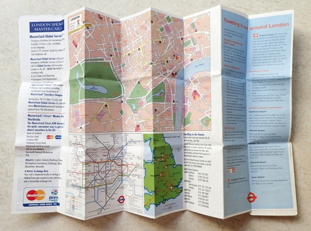Doubly folded sheet card produced by Z-Card showing Wembley Stadium seating plan, Euro '96 fixture list, travel information, map of central London and the sponsor MasterCard's 'welcome centres'