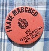 Our marching team carried button badges to hand out to the children that line a volksluaf