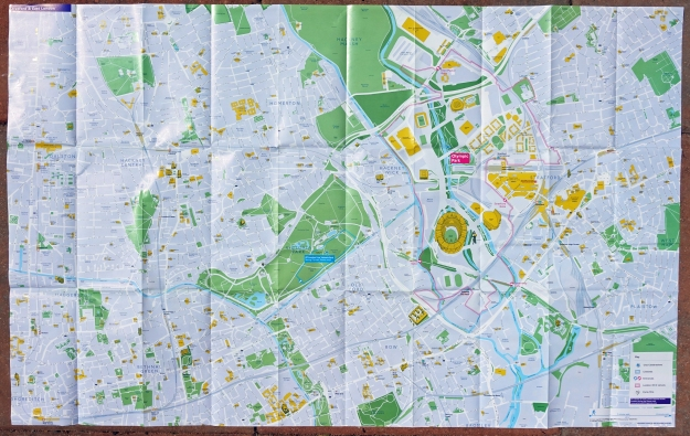 Large free map centred on Stratford and East London given free in 2012. There is a lot of detail on this map which includes the Olympic Park. 980mm x 620mm