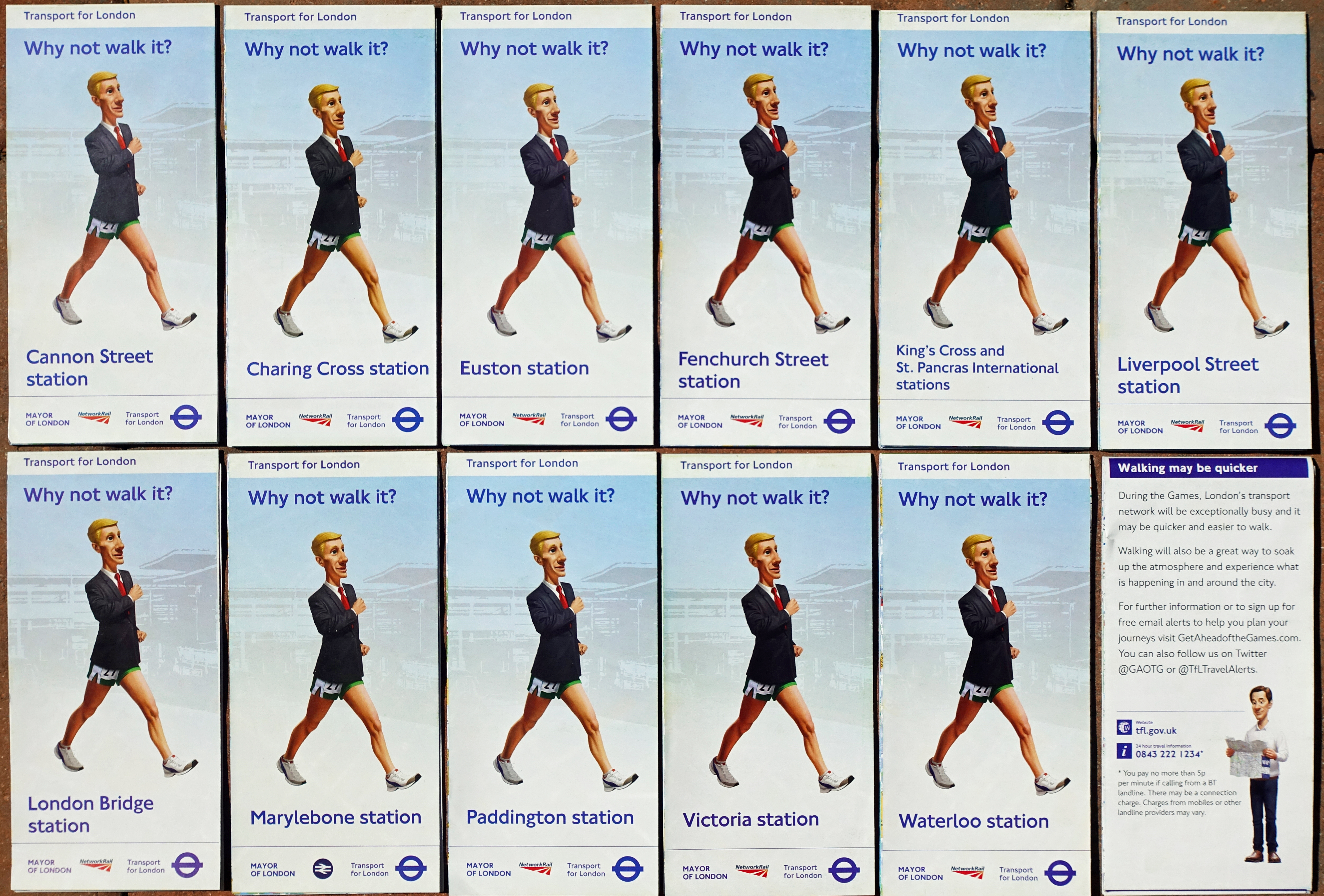 Eleven maps, each centred on a London railway station, were distributed free of charge to aid visitors to London during the 2012 Olympics
