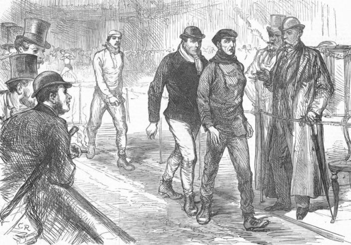 'Finish of the Great Walking-match on Saturday at the agricultural hall, Islington'. The first of the annual international 'Asley Belt' six-day races was held in London in 1878. Competitors could walk, trot or un as they pleased. Dan O'Leary beat 17 other competitors, completing 520 miles in the time span. ILN, 1878