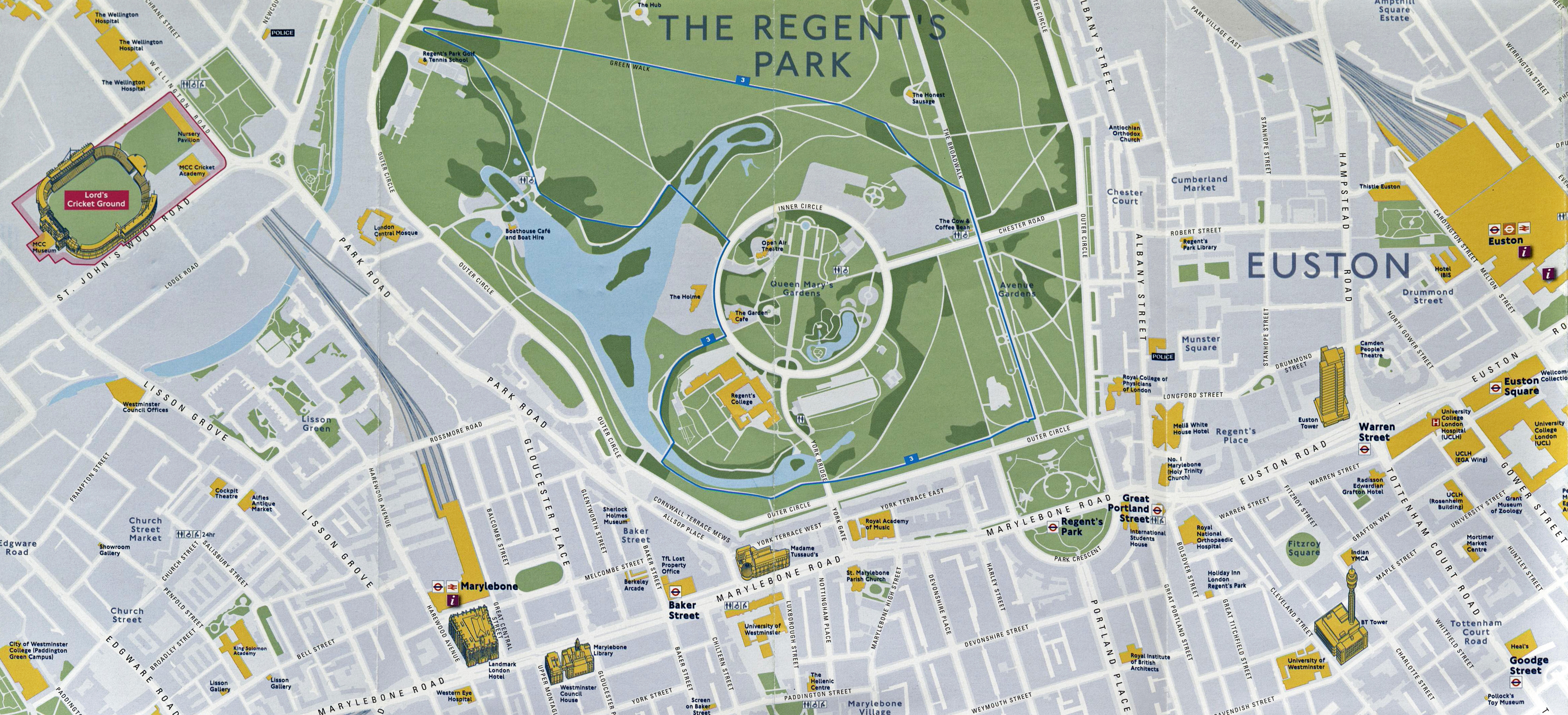 Detail from TfL's 'Summer 2012 Map', showing the Green Discovery Stroll through Regent's Park