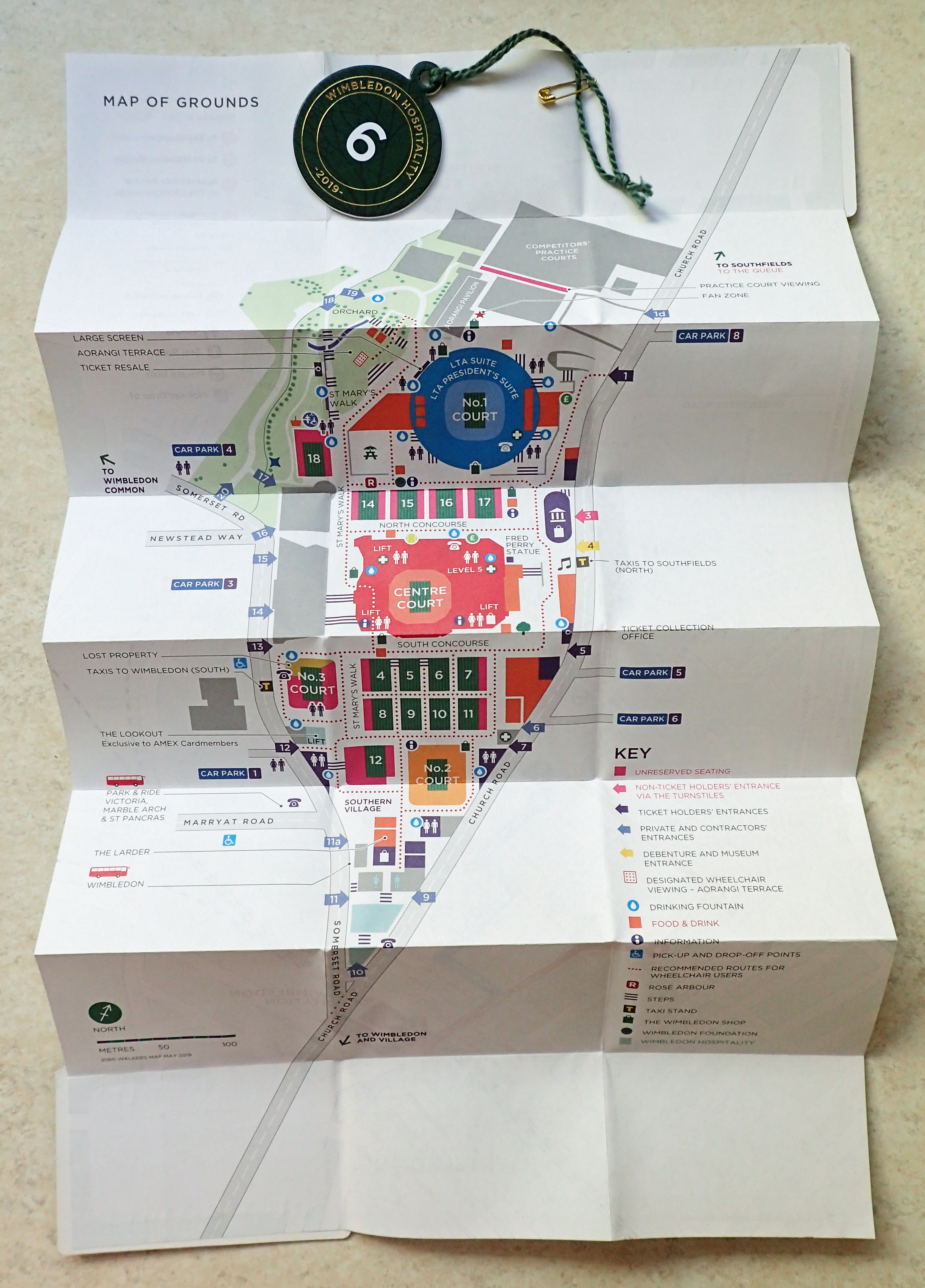 Free map given to some attendees at the 2019 Wimbledon Tennis Championship, with hospitality pass. Walkers Map 2019