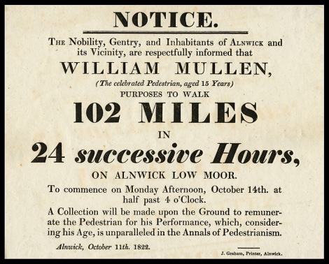 Fifteen year old Richard Mullen completed 102 miles in 24 hours in 1822