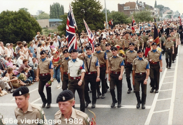 Our Squadron team on the final day parade of the 1982 International Four Days Marches Nijmegen. Three Points of the Compass marches behind the flag bearer
