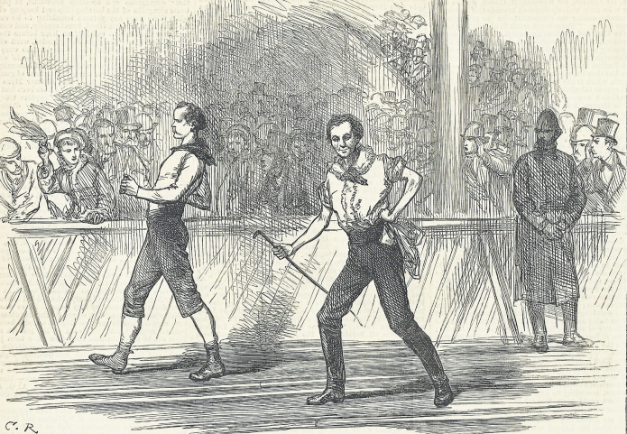Agricultural Halls, Islington. The two great pedestrians- O'Leary pitted against Weston over a six day 500 mile race. London Illustrated News, 14 April 1877