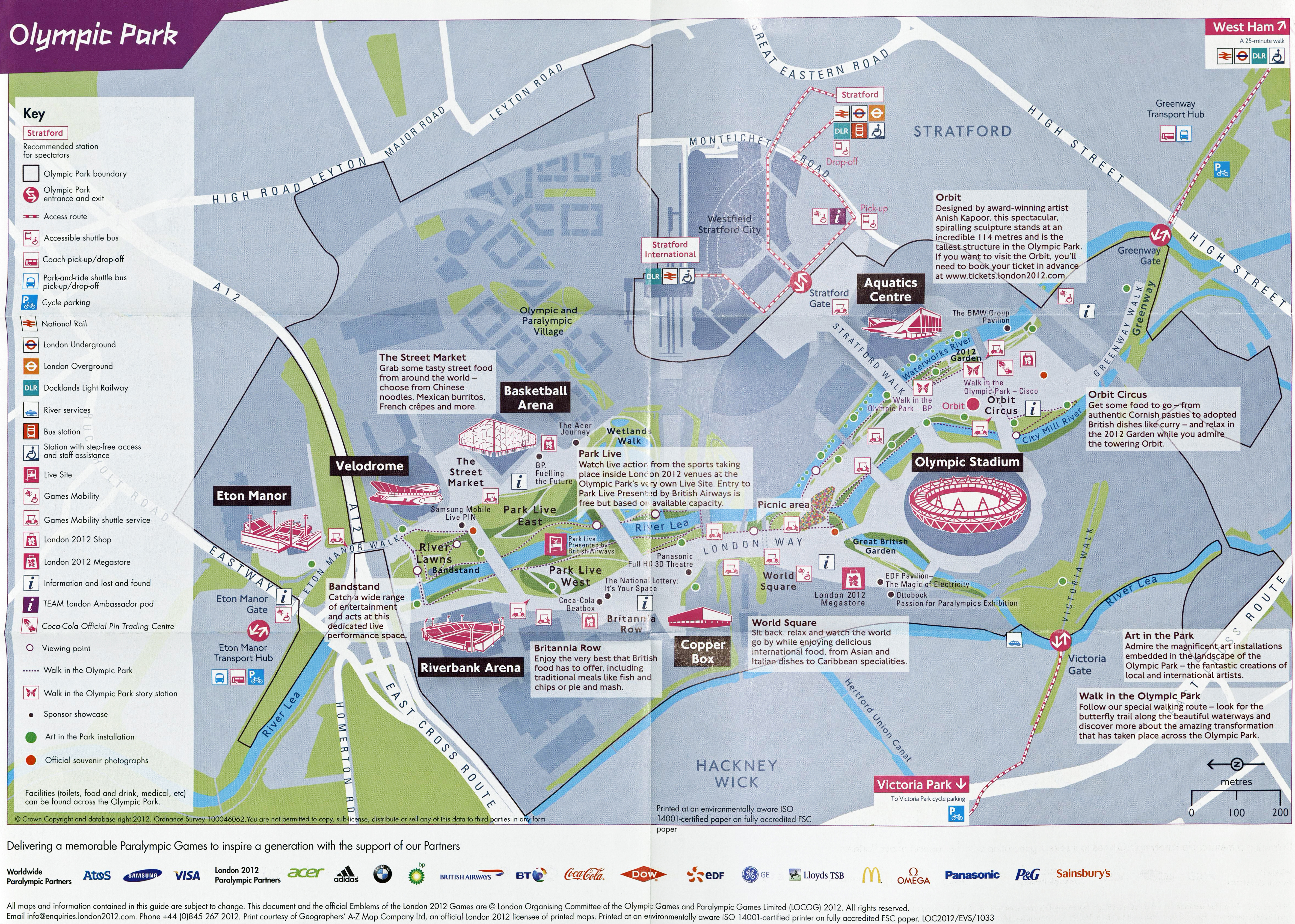 Based on Ordnance Survey mapping but including very simple detail. There is sufficient information on this map to enable those unfamiliar with maps to navigate around the 2012 Olympic Park
