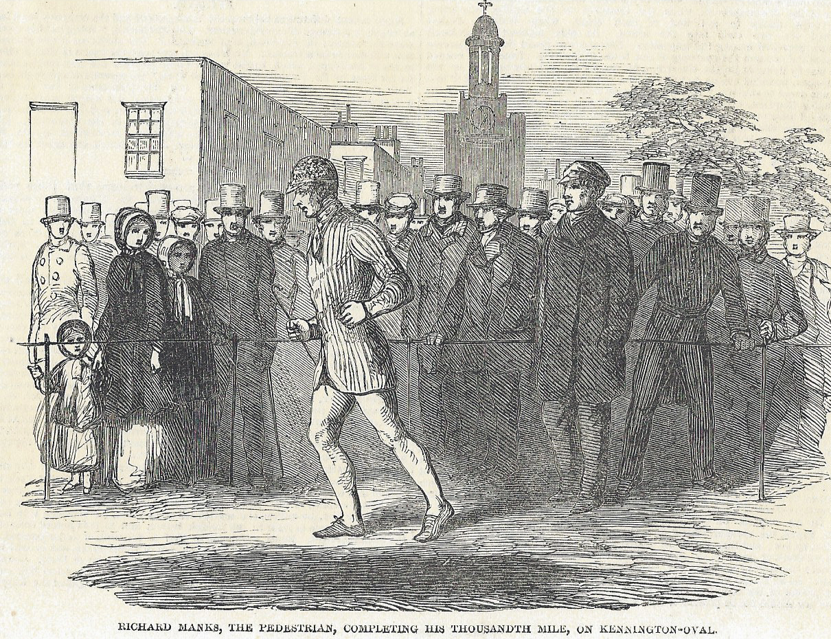 Richard Manks was the second person to walk a thousand miles in a thousand hours, completing his feat in the year of the Great Exhibition, at the Surrey Cricket Ground. Illustrated London News, 8 November 1851