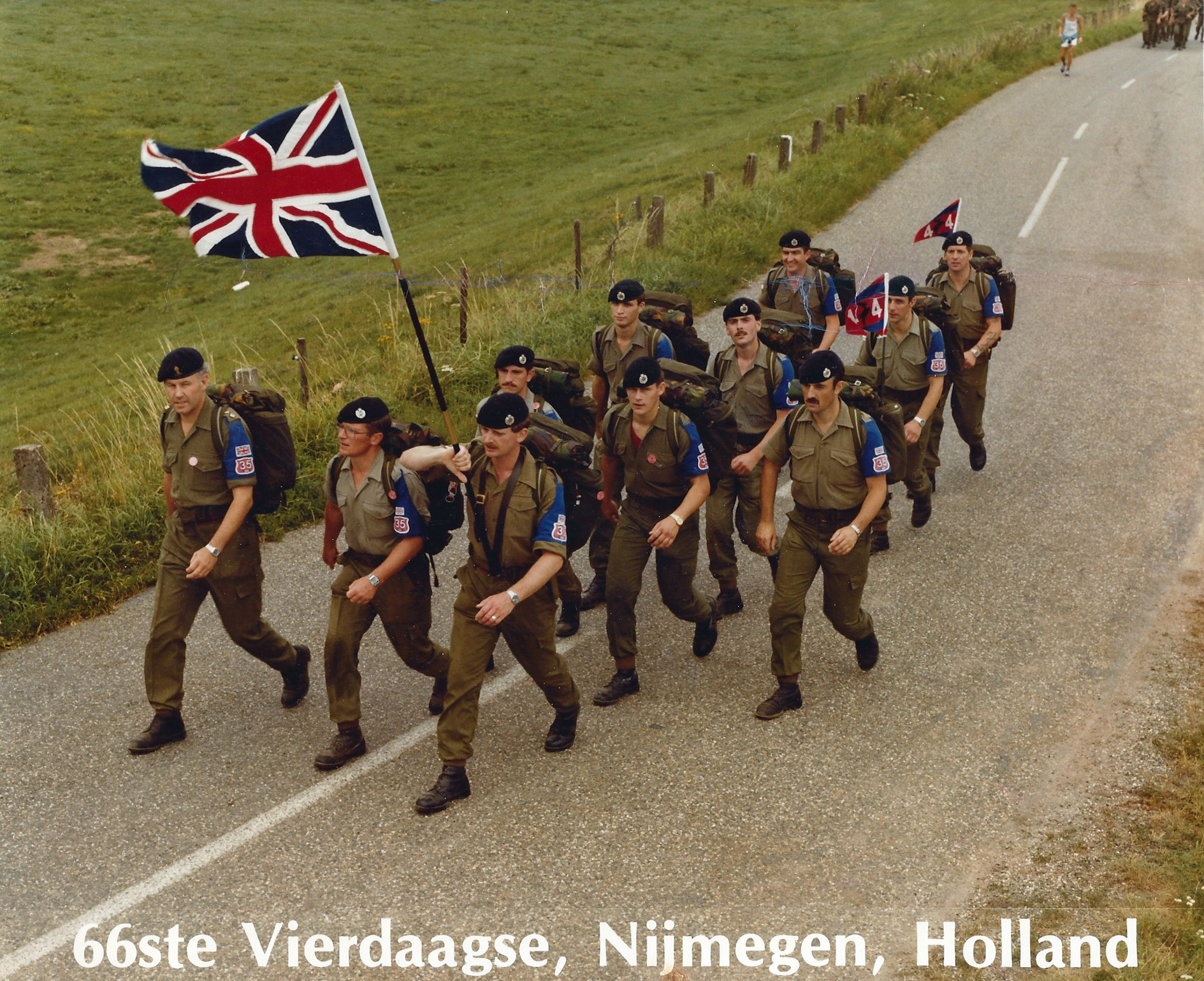 Royal Engineers, 44 Squadron Marching Team, 1982. Three Points of the Compass is third back to the right of the team