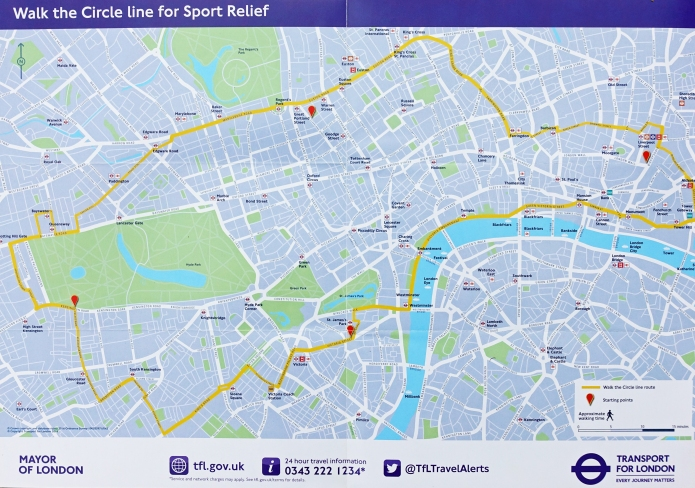 Sponsored by Sainsbury's and produced by TfL, this free map enabled participants to navigate their way around the original route of the Underground Circle Line, 2016