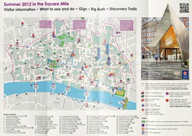Visitor Information map on free 'Square Mile' leaflet produced in 2012. This includes two short 'Discovery Trails for those walking around London