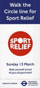Free leaflet detailing the Walk the Circle Line for Sport Relief event held on 13 March 2016