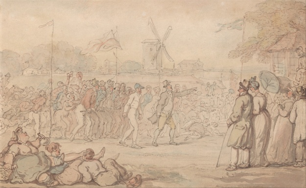 Captain Barclay surrounded by spectators. Those in the foreground seeme to be making something of a party of the occasion. Drawing by Thomas Rowlandson. Image: Wikimedia Commons
