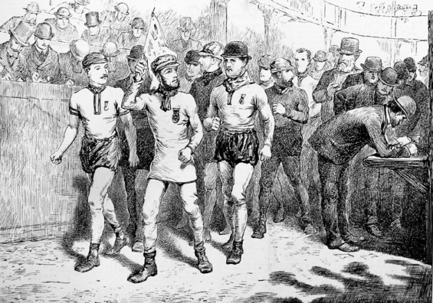 The Great walking match at the Agricultural Hall- The Finish. from The Illustrated Sporting and Dramatic News. November 1878