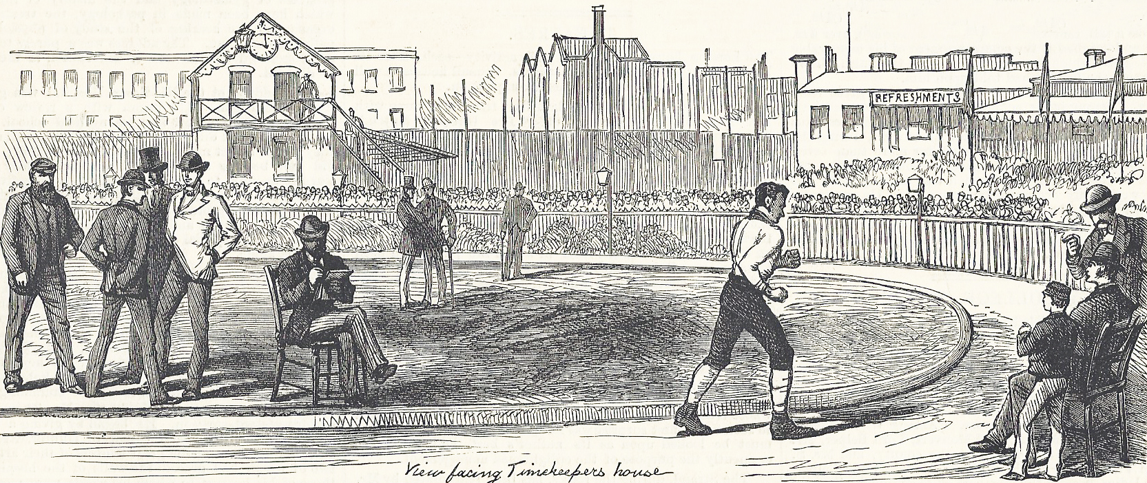 William Gale completing 1500 miles in 1000 hours in 1877. Supplement to the Illustrated London News, 6 October, 1877