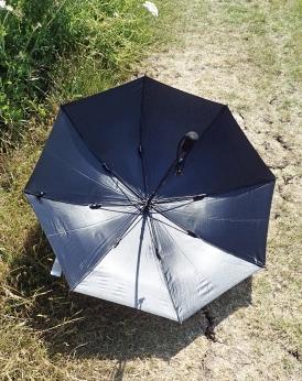 Umbrella has a black interior surface