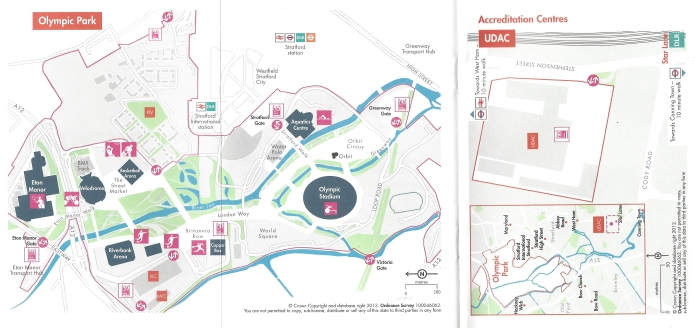 Small fold out maps from the pocket guide given to the many thousands of accredited individuals attending the 2012 Olympics and Paralympics. Adapted from Ordnance Survey mapping and produced by the London Organising Committee of the Olympic Games and Paralympic Games Limited