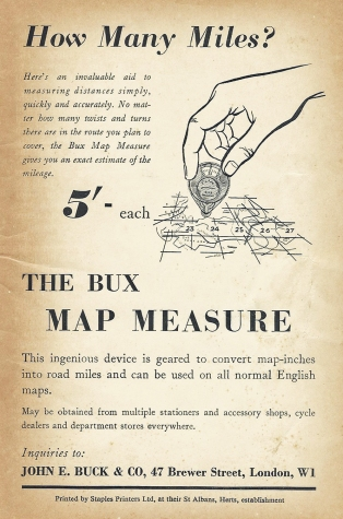 c1955 advertisement for the Bux Map Measure, price five shillings