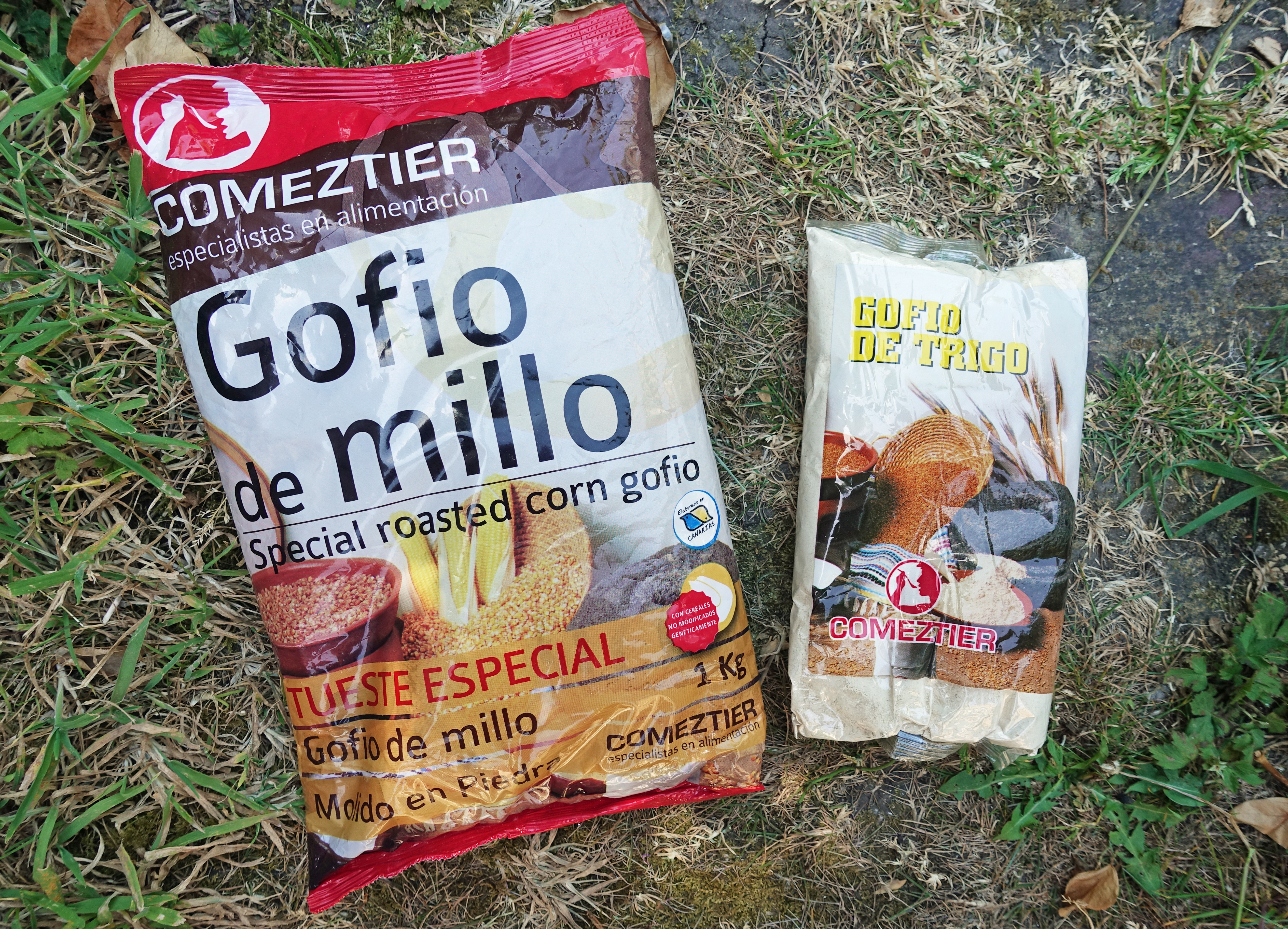 Gofio de Millo is made from ground and roasted corn (actually maize) while Gofio de Trigo is roasted wheat