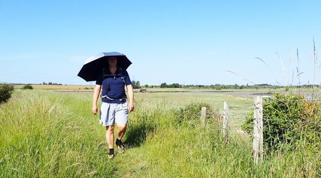 Euroschirm Swing Liteflex trekking umbrella on Saxon Shore Way