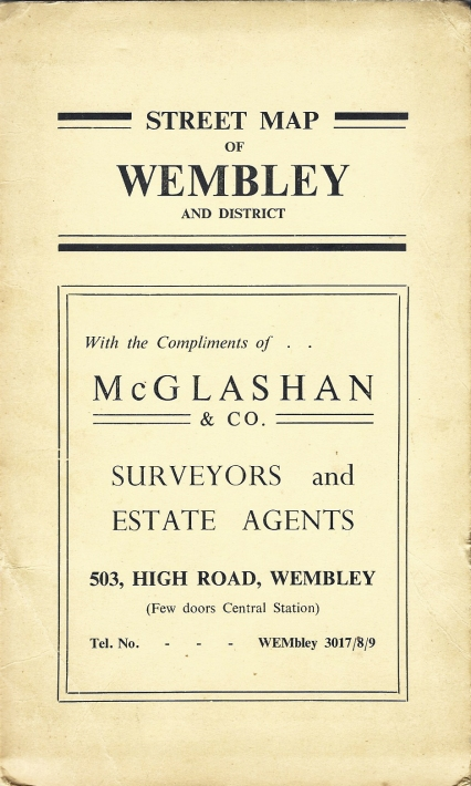 Free street map showing the streets area surrounding Wembley Stadium. With compliments of McGlasham & Co. Surveyors and Estate Agents. Map copyright Maurice Linton Publications